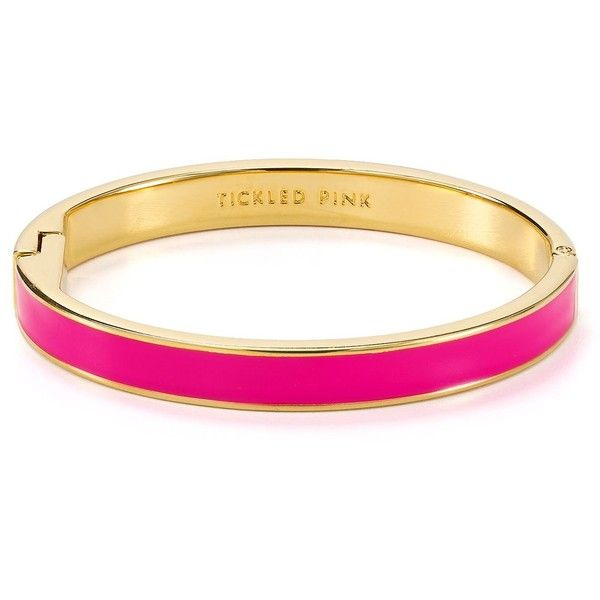 kate spade new york Tickled Pink Idiom Bangle ($48) ❤ liked on Polyvore featuring jewelry, bracelets, kate spade, accessories, bracelets/bangles, pink, kate spade jewelry, engraved bangle, bangle bracelet and kate spade bangle