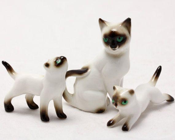 Mini Siamese Cat Figurine Family - Vintage Bone China