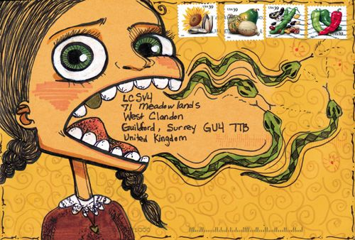 Mail Art - address is coming out of cartoon girl's mouth