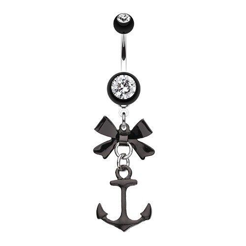 """PIERCING NOMBRIL ANCRE MARINE ET NOEUD PAPILLON NOIRS http://www.aiapiercing.com/piercing-nombril/fantaisie/piercing-nombril-ancre-marine-et-noeud-papillon-noirs Découvrez plus de bijoux """"Ancre"""" sur http://www.aiapiercing.com/collections/ancre #ancre #noeud #piercing"""