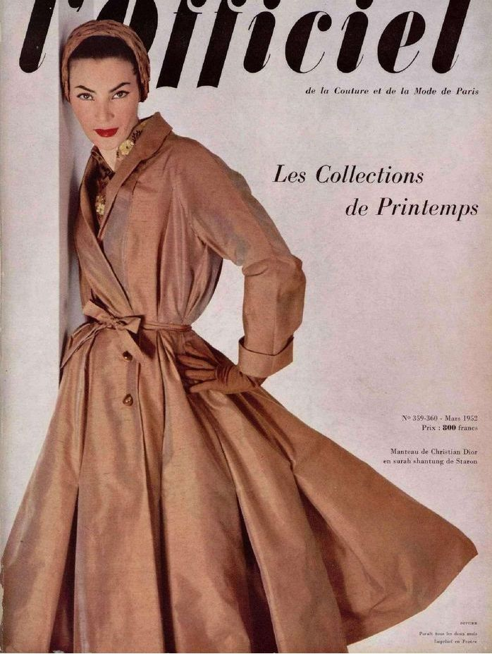1952-  Lucky in a Christian Dior silk surah shantung coat, L'Officiel March