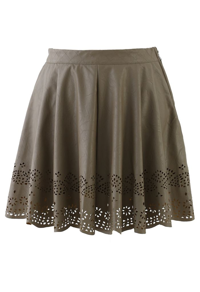 Camel Faux Leather Skirt with Cut Out Detail - New Arrivals - Retro, Indie and Unique Fashion