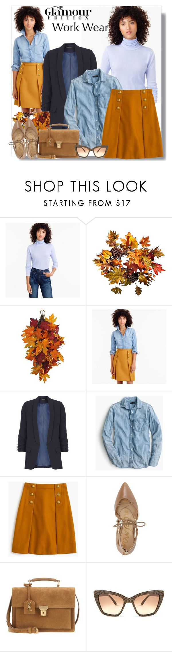 """""""Work Wear:  The Preppy Look"""" by teah507 ❤ liked on Polyvore featuring J.Crew, Improvements, WALL, Dorothy Perkins, Sam Edelman, Yves Saint Laurent, Prism, WorkWear, skirts and fallfashion"""