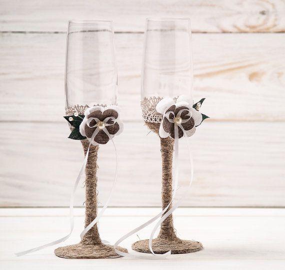 The Wedding Faire - Champagne Flutes with Twine and Burlap Flowers., $77.95 (http://www.weddingfaire.com.au/products.php?product=Champagne-Flutes-with-Twine-and-Burlap-Flowers./)