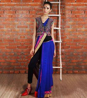 saree with leggings and jacket