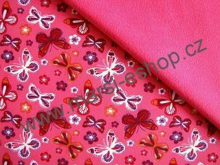 287**Softshell zimní 5/3 - Motýlci na růžové / růžová