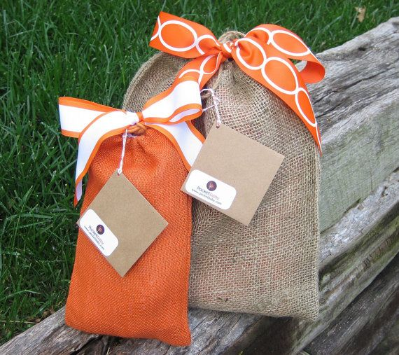 Cute little packages! #orange #brown #ribbon #bags #gift #wrapping #packaging