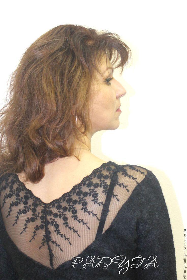 Купить Маленькое черное платье - войлок - черный, кружево, платье, Платье…
