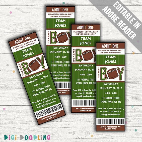 Football Baby Shower Invitations. Baby Boy Invites. Editable.