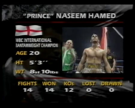 Naseem Hamed's 15th Fight.. Laureano had 18 Fights and no Loses before the Fight. http://www.sportsmoments.org/2015/03/prince-naseem-hamed-vs-laureano-ramirez.html