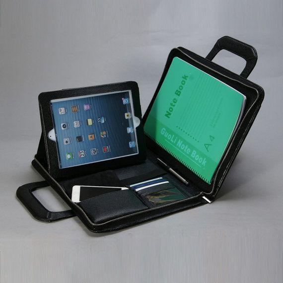 """Geanta din piele naturala cu maner, pentru iPad sau alte tablete de 9.7"""" - Neagra"""