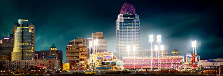 Photography workshop USA. Landscape photography workshop teaching photography visualization, landscape photography and Photoshop editing on one photography course. Private tuition workshops booked on demand, worldwide. Fine art photography print for sale of Great American Ball Park, Cincinnati, USA by David Osborn