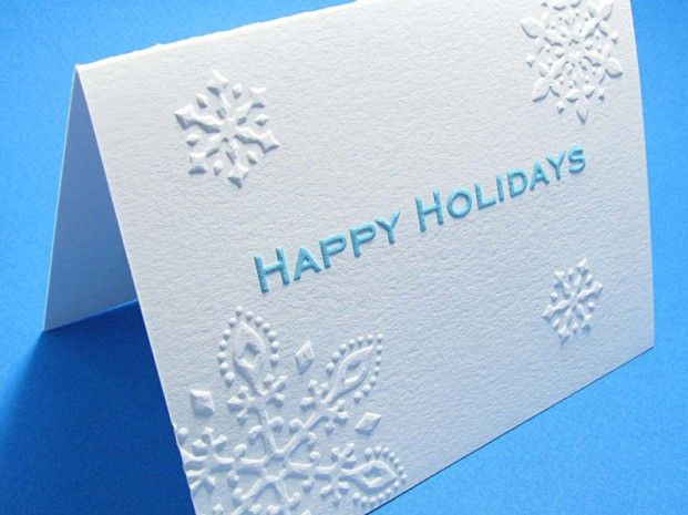Snowflake Embossed Happy Holidays Cards