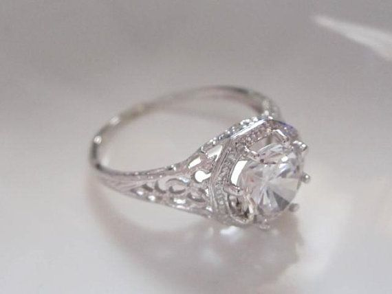 Vintage Women Width Ring Tiny Gray Cubic Zirconia Antique Silver Simple Jewelry