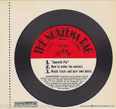 THE NOXZEMA RAG 'SWEETIE PIE' SONG VINTAGE ADVERTISEMENT PROMO COLUMBIA RECORD
