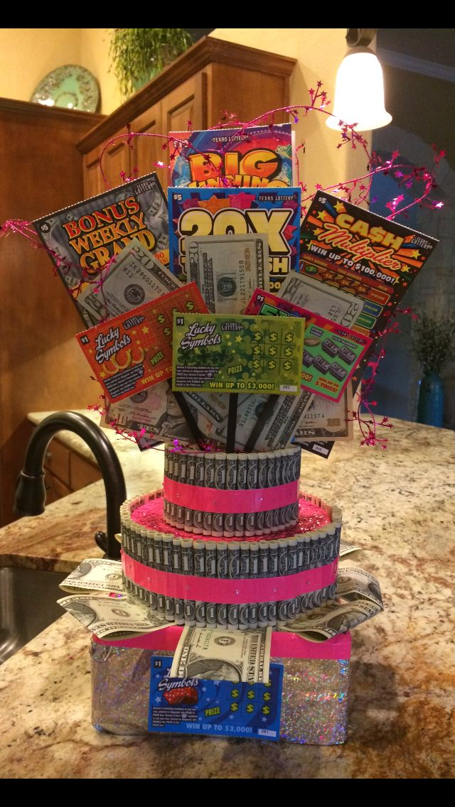 Money cake with lottery tickets