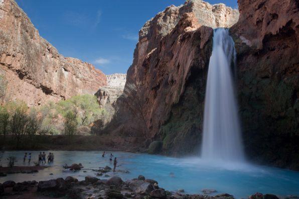 The breathtaking Havasu Falls in Arizona, reached via a 2-day hike.
