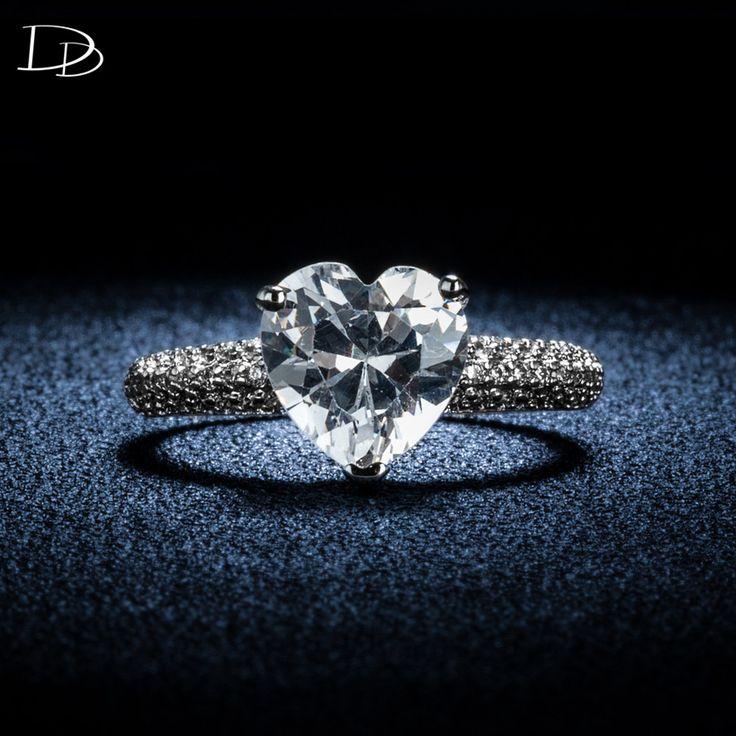 Gran piedra del corazón de 3 Quilates AAA cz diamond anillos de compromiso joyería de la boda Para las mujeres oro blanco plateado bague bijoux lujo DD048