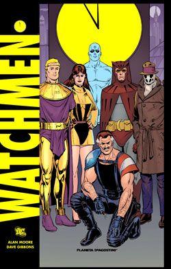 Watchmen es una obra mítica de los británicos Alan Moore, guionista, y Dave Gibbons, dibujante. Se editó, por primera vez, en formato comic-book, entre 1986 y 1987 se publicó en 12 entregas. La historia es una crítica a la sociedad occidental de su momento, mediados  de los 80, y, por  extensión, de la actualidad. Ìmagen tomada de http://www.planetacomic.net/comics_detalle.aspx?Id=13645