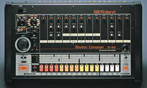 The iconic TR-808 Roland drum machine.