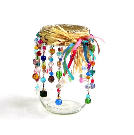 Beaded Mason Jar Candle Holder Luminary Bohemian by rrizzart