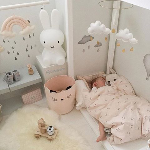 This little girl's room is just so cute! You can find Miffy lamp and Cam Cam Rainbow mobile in our online store.