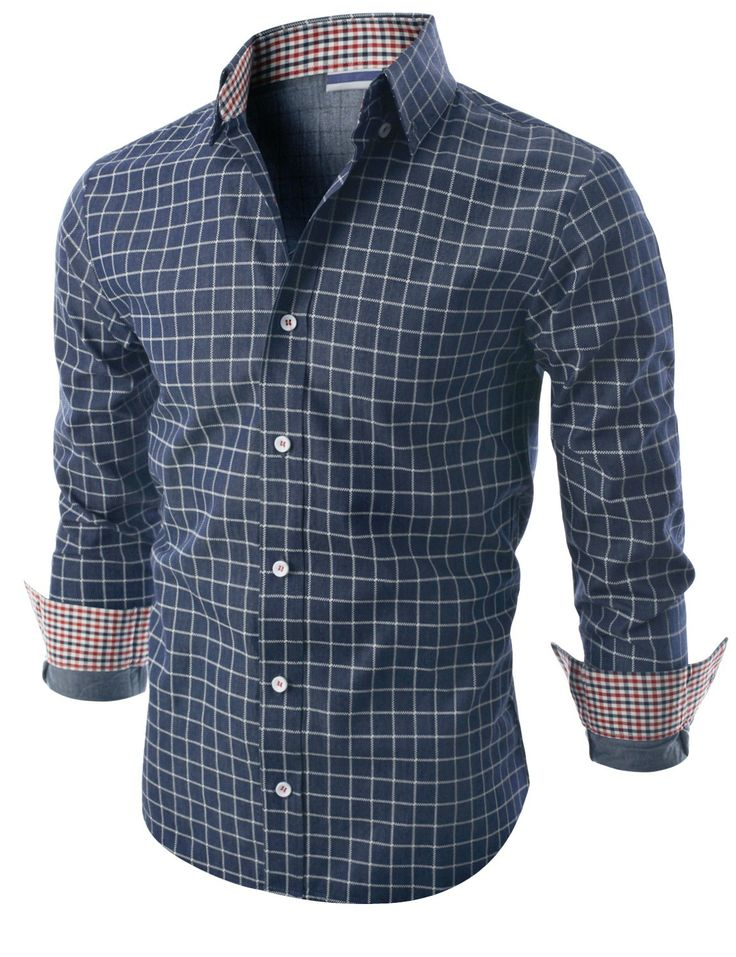 $20.00 Doublju Mens Long Sleeve Printed Check Denim Shirt (KMTSTL0139) Doublju