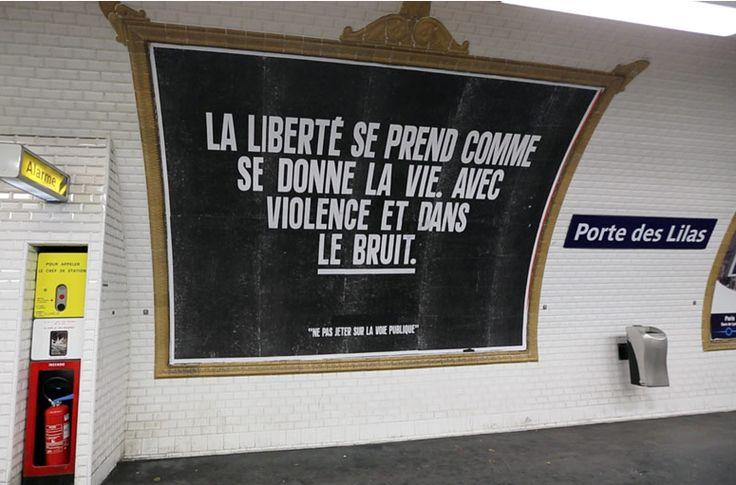 Affiche 4x3m en Noir et Blanc dans le métro parisien. Impression laser sur papier 75g - 40 euros ht. By Sean Heart - 2014