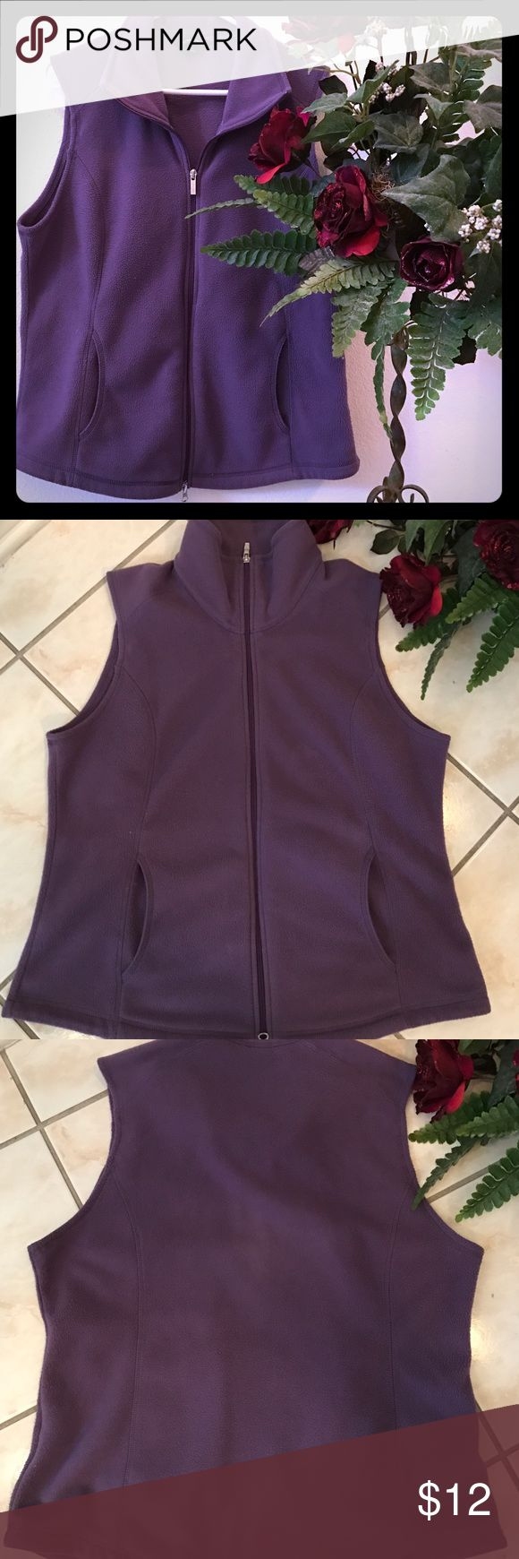 Lands' End Purple Full Zip Mock Collar Vest Women's Lands' End Purple Fleece Vest with two pockets, pre-owned but in great condition, size: Large, perfect for chilly wear over a long sleeve top or sweater Lands' End Jackets & Coats Vests