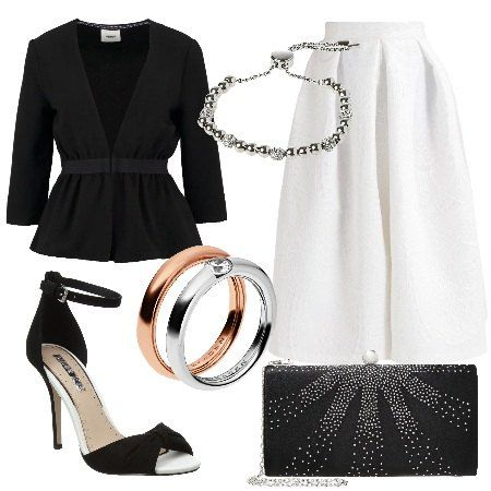 Outfit+molto+elegante+composto+da+blazer+nero+con+scollo+a+V+profondo.+Gonna+a+campana+bianca,+chiusura+con+cerniera,+lunghezza+al+polpaccio+e+tasche+sul+davanti.+Sandali+con+tacco+a+spillo+bianchi+e+neri+aperti+sul+davanti.+Pochette+nera+con+brillantini+e+chiusura+con+gancio.+Per+concludere+l'outfit+ho+inserito+anello+in+acciaio+inossidabile+con+brillantino+e+bracciale+in+metallo+e+vetro.