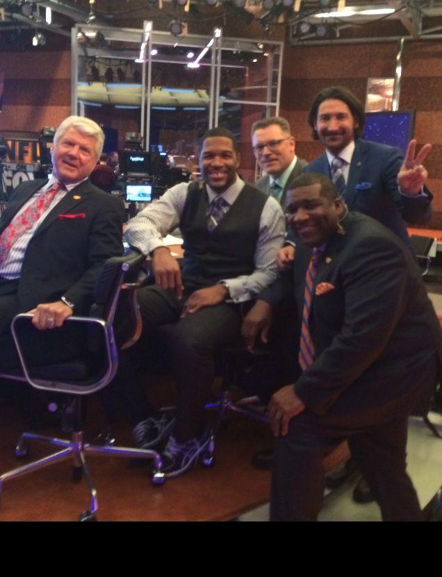 "FOX NFL Sunday Crew 2014 wearing David August Couture custom suits ""On-Air"" Sundays. Michael Strahan, Terry Bradshaw, Jay Glazer, David Heil"