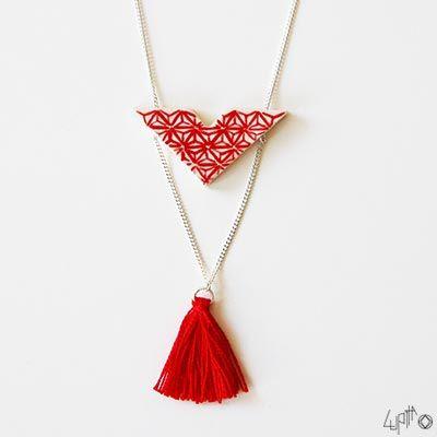 La version rouge du collier en céramique Aoko - Lupita