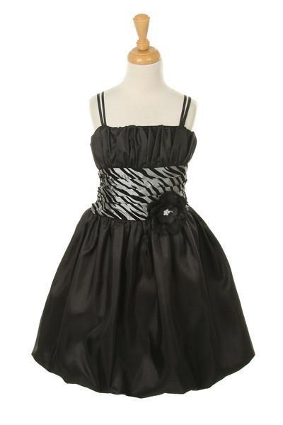 Girls Short Silver Zebra Print Dresses