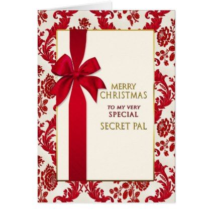 Christmas- Secret Pal -Gift Red Ribbon Card - christmas cards merry xmas diy cyo greetings