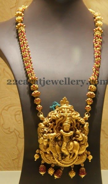 Jewellery Designs: Krishna Long Set with Pink Beads