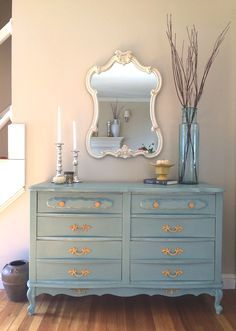 French Provincial Dresser Makeover With ASCP in Duck Egg Blue, Old White on the highlights & Arles painted Hardware.
