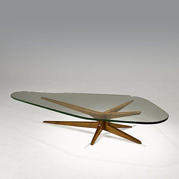Vladimir Kagan; Walnut and Glass Coffee Table for Kagan-Dreyfuss, 1950s
