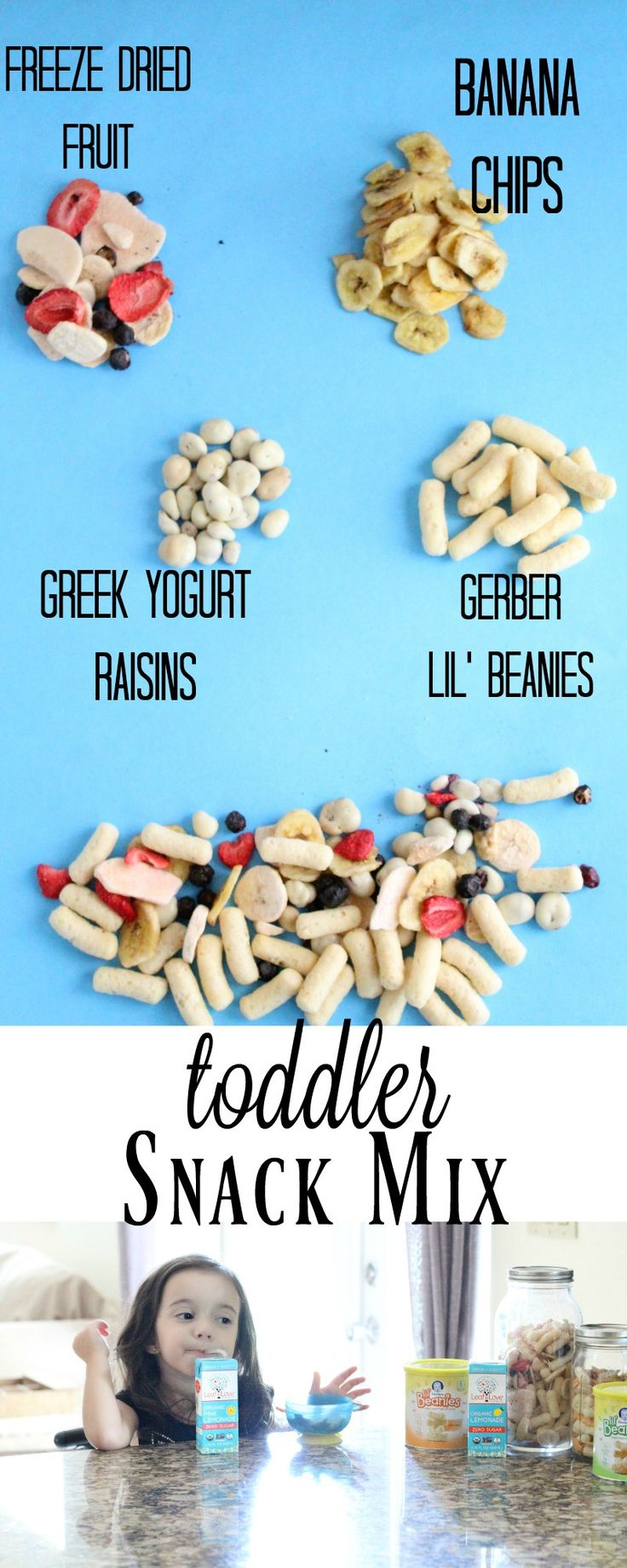 Easy Toddler Snack Mix. Healthy and Nutritious snacks that my kids love! Save $0.75 - Gerber Lil Beanies >> https://ooh.li/1f45437