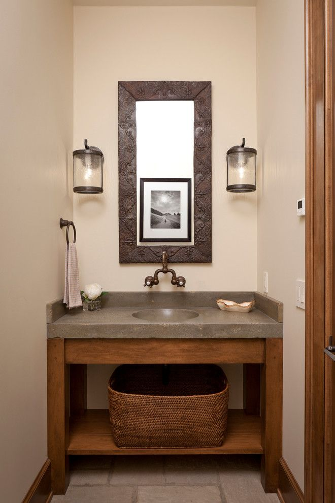 Open Shelving Vanities Rustic Google Search Bathroom Pinterest Powder Room And Concrete
