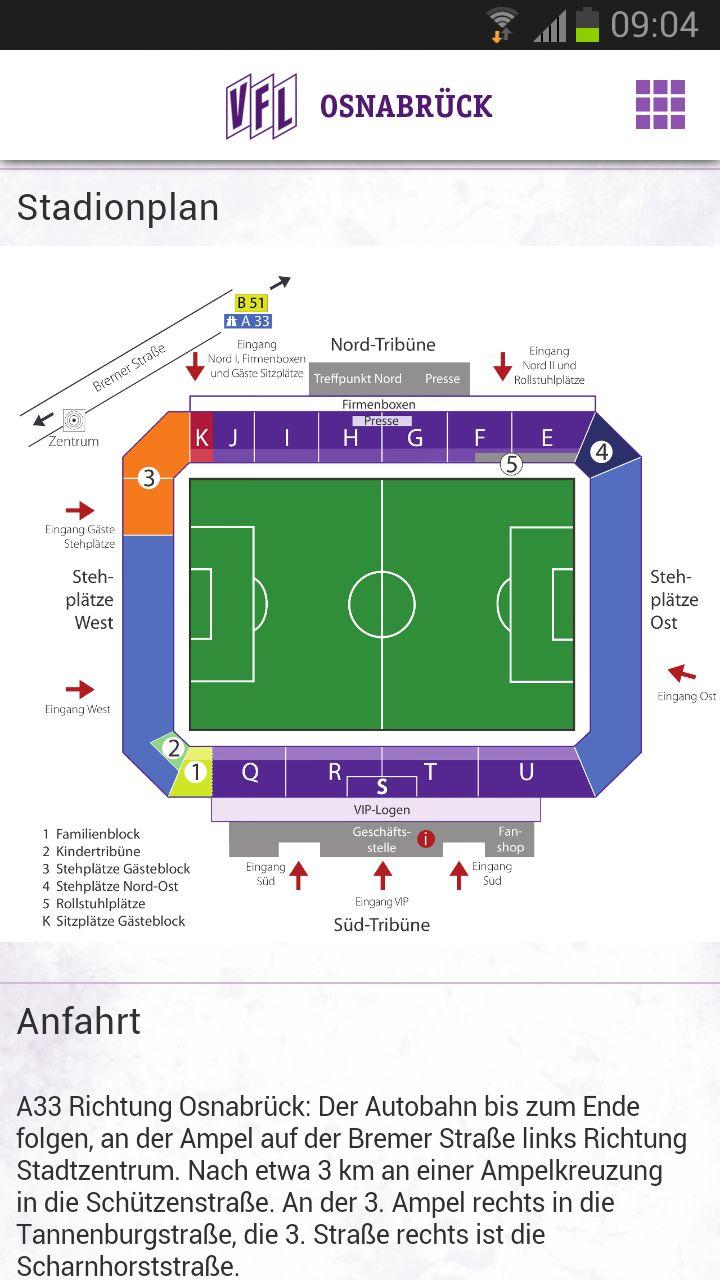 VfL Osnabrück App - Anfahrtsbeschreibung Stadion