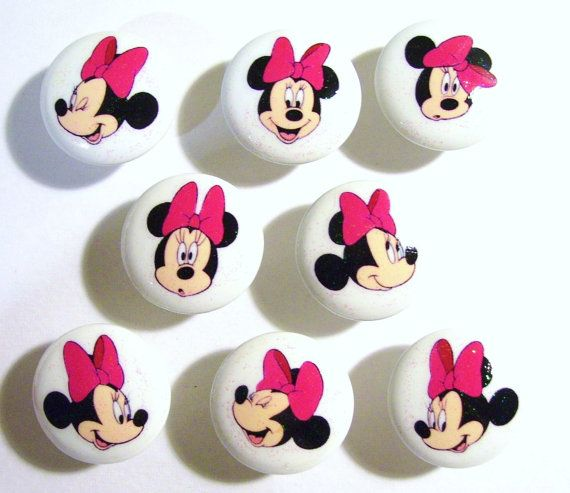 8 MINNIE MOUSE SPARKLE Pink dresser drawer knobs by PATRINASPLACE, $22.00. These would dress up an old dresser that had been painted white or pink.