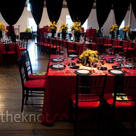 Modern Red and Black Reception: Yellow Flowers, Modern Red, Black Table, Black Curtains, Wedding Photo, Colors Schemes, Black And Red Wedding, Red Black, Black Receptions