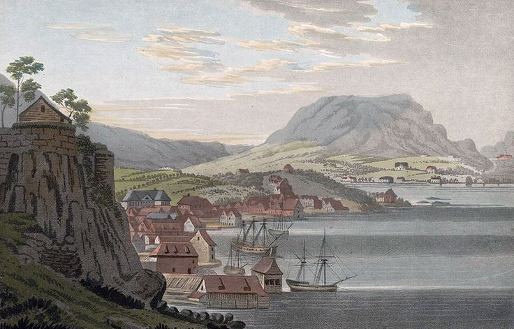 """City of Bergen (JW Edy plate 76). English: """"City of Bergen"""" Norsk bokmål: «Staden Bergen» Drawing by John William Edy (1760-1820) from his journey along the coast of Norway during the summer of 1800. Published in Boydell's picturesque scenery of Norway in 1820."""