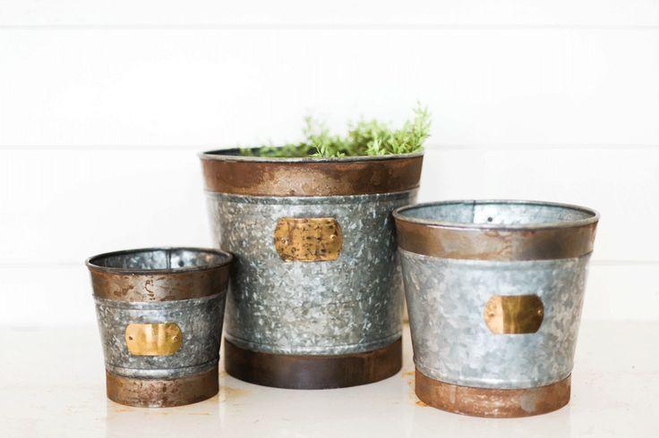 Galvanized tin bucket planter large ebay for Metal bucket planter