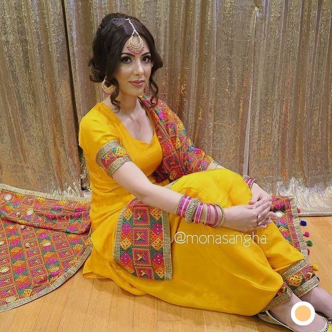 No Indian Wedding Is Complete Untill You Have A Phulkari Suit In Your Wardrobe Wedvowsattire Phulkarisui Phulkari Suit Yellow Punjabi Suit Punjabi Outfits