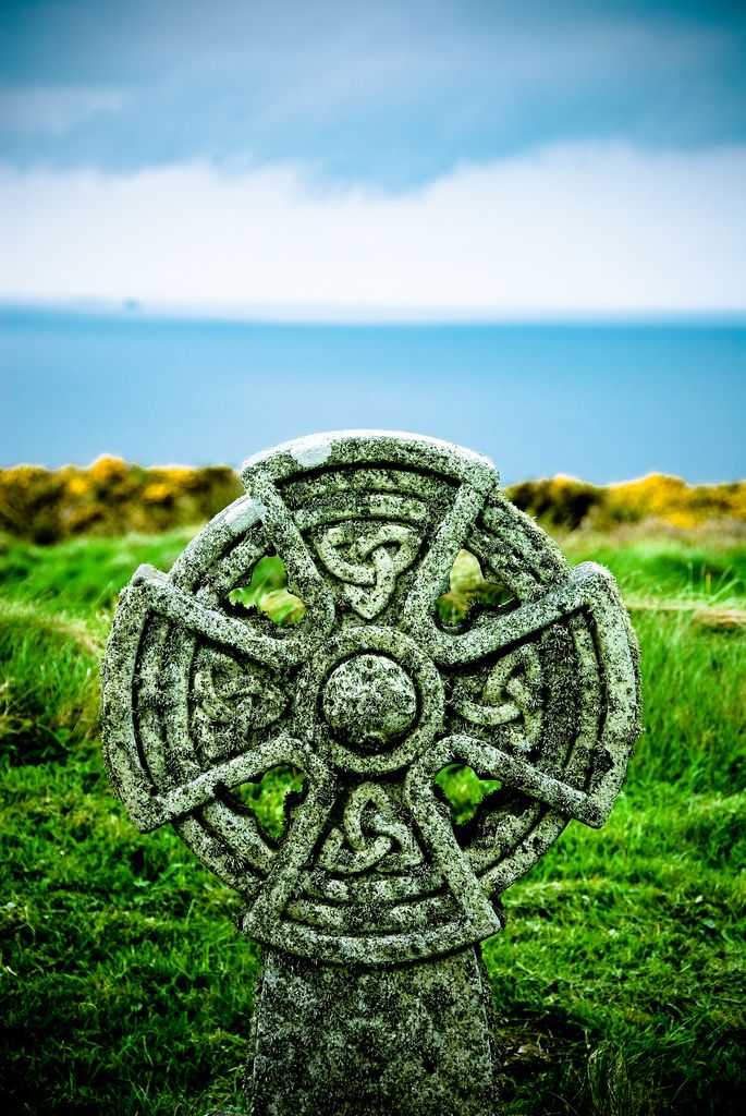 """Celtic Cross"" - graveyard of the Parish Church of St. Materiana located in Tintagel, England, UK."
