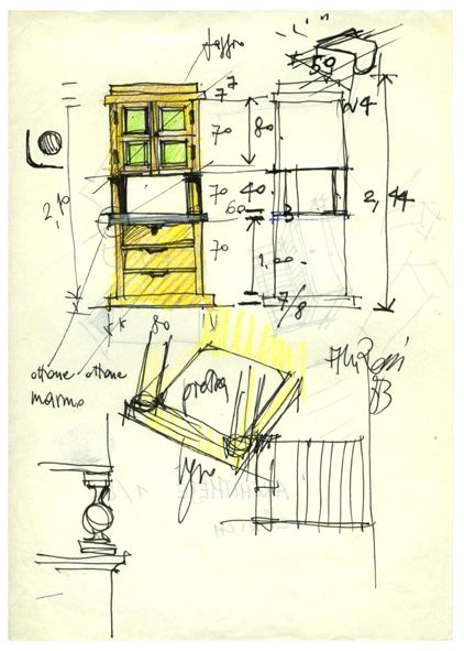 Credenza Drawing by Aldo Rossi