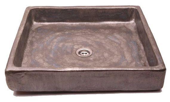 Steely minimalism sink unusual washbasin handmade by Dekornia