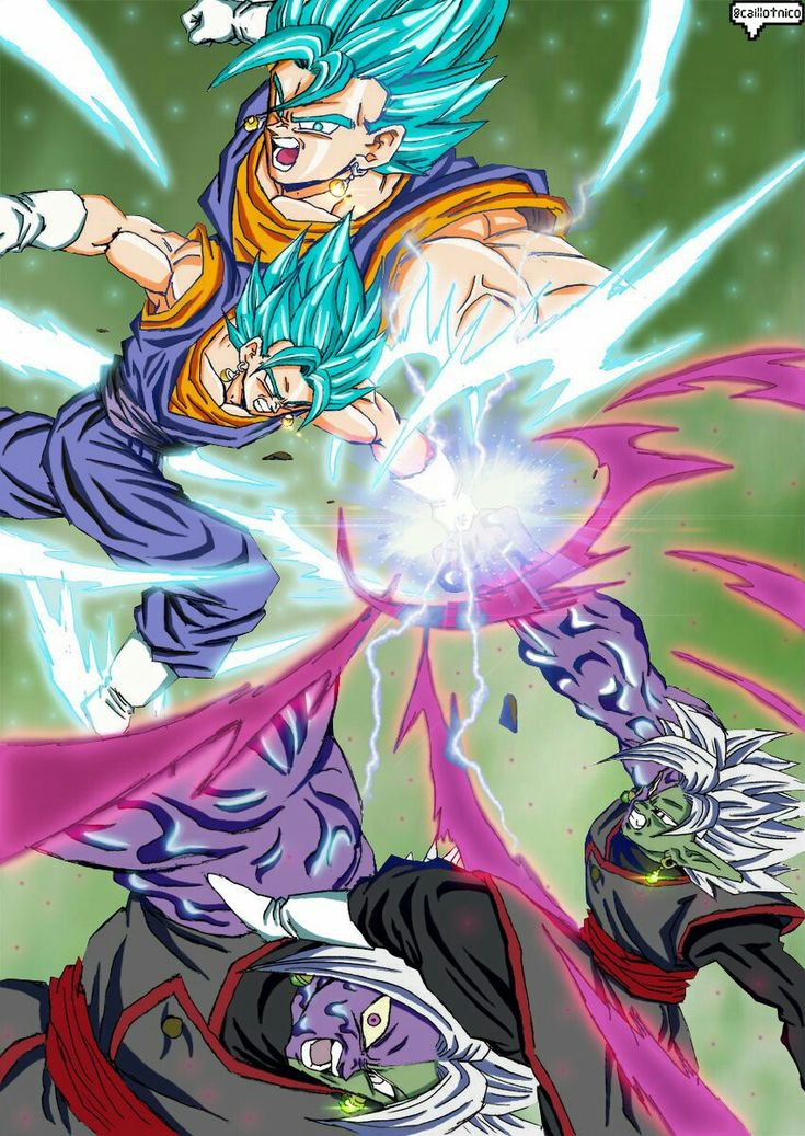 Vegito vs Black Goku and Zamasu fusion