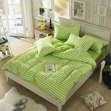Mingjie Sanding Korean City Style Lines Green Bedding Sets 4pcs Duvet cover sets Bed Linen China Queen Size - USD $ 25.99